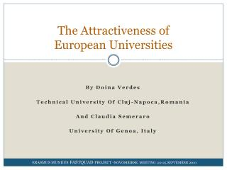 The Attractiveness of  European Universities