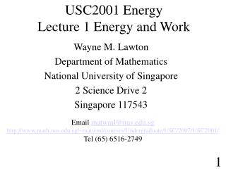 USC2001 Energy  Lecture 1 Energy and Work