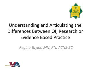 Understanding and Articulating the Differences Between QI, Research or Evidence Based Practice