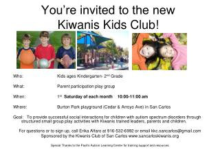 You're invited to the new Kiwanis Kids Club!
