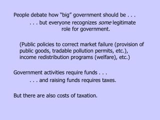 "People debate how ""big"" government should be . . . 		. . . but everyone recognizes  some  legitimate				role for govern"