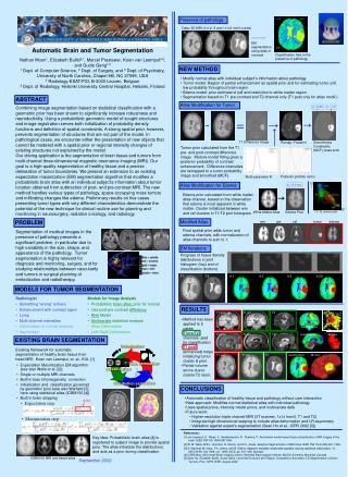 Automatic Brain and Tumor Segmentation  Nathan Moon 1 , Elizabeth Bullitt 2,1 , Marcel Prastawa 1 , Koen van Leemput 4,