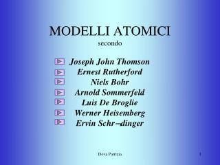 MODELLI ATOMICI secondo Joseph John Thomson Ernest Rutherford Niels Bohr Arnold Sommerfeld Luis De Broglie Werner Heise