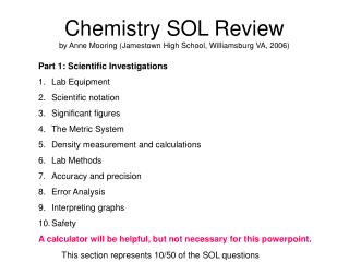 Chemistry SOL Review by Anne Mooring (Jamestown High School, Williamsburg VA, 2006)