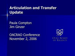 Articulation and Transfer Update