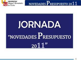 NOVEDADES  P RESUPUESTO 20 11