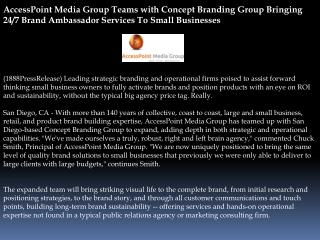AccessPoint Media Group Teams with Concept Branding Group Br