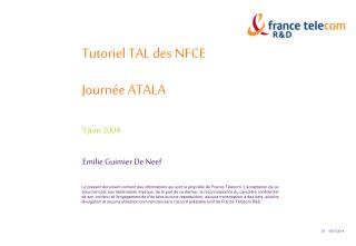 Tutoriel TAL des NFCE Journée ATALA 5 Juin 2004
