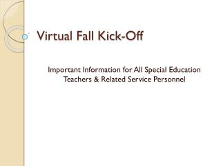 Virtual Fall Kick-Off