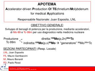 APOTEMA A ccelerator-driven  P roduction  O f  TE chnetium/ M olybdenum  for medical  A pplications Responsabile Nazion