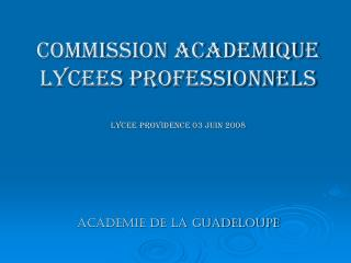 COMMISSION ACADEMIQUE LYCEES PROFESSIONNELS LYCEE PROVIDENCE 03 JUIN 2008