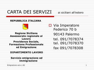 CARTA DEI SERVIZI     ai siciliani all'estero