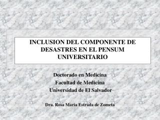 INCLUSION DEL COMPONENTE DE  DESASTRES EN EL PENSUM UNIVERSITARIO