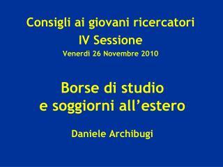 Borse di studio  e soggiorni all'estero Daniele Archibugi