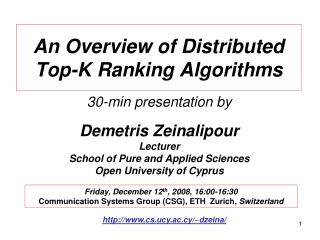 An Overview of Distributed Top-K Ranking Algorithms