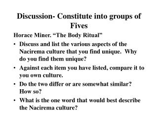 Discussion- Constitute into groups of Fives
