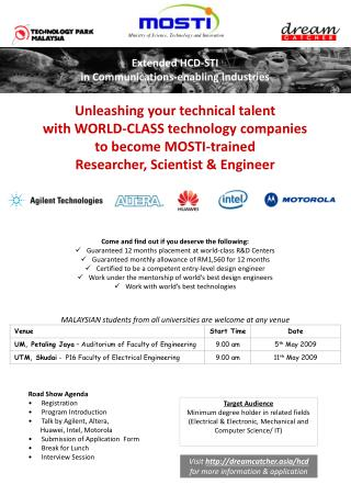 Unleashing your technical talent  with WORLD-CLASS technology companies  to become MOSTI-trained  Researcher, Scientist