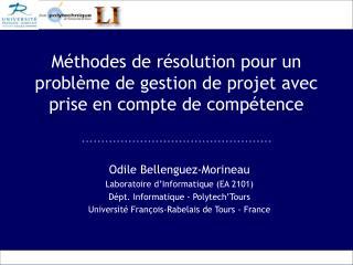 Méthodes de résolution pour un problème de gestion de projet avec prise en compte de compétence