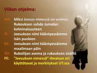 Viikon ohjelma: MA:  Miksi Jeesus-nimessä on voimaa.  Rukouksen suhde Jumalan kolminaisuuteen  TI:  Jeesuksen nimi k