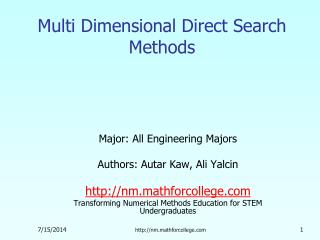 Multi Dimensional Direct Search Methods