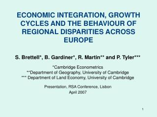 ECONOMIC INTEGRATION, GROWTH CYCLES AND THE BEHAVIOUR OF REGIONAL DISPARITIES ACROSS EUROPE