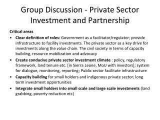 Group Discussion - Private Sector Investment and Partnership