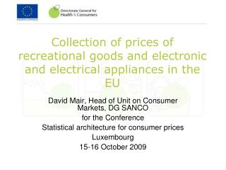 Collection of prices of recreational goods and electronic and electrical appliances in the EU