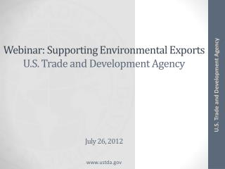 Webinar: Supporting Environmental Exports U.S. Trade and Development Agency