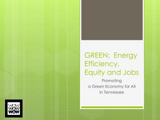 GREEN:   Energy Efficiency, Equity and Jobs