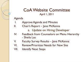 CoA Website Committee April 1, 2011