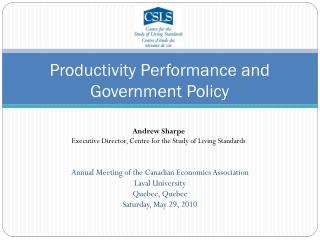Productivity Performance and Government Policy