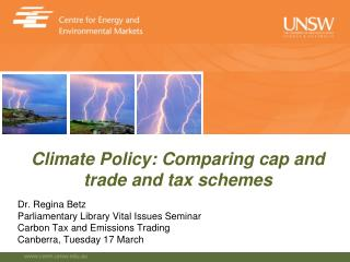Dr. Regina Betz Parliamentary Library Vital Issues Seminar Carbon Tax and Emissions Trading Canberra, Tuesday 17 March
