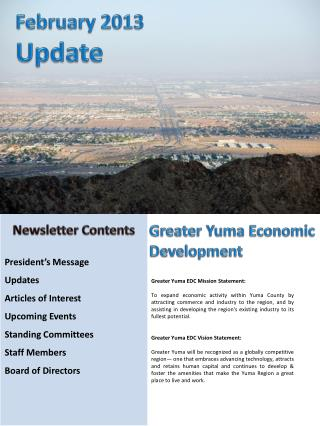 President's Message          Updates Articles of  Interest Upcoming Events     Standing Committees        Staff Members