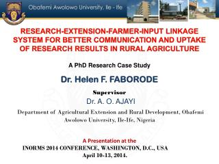 RESEARCH-EXTENSION-FARMER-INPUT LINKAGE SYSTEM FOR BETTER COMMUNICATION AND UPTAKE OF RESEARCH RESULTS IN RURAL AGRICUL