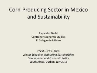 Corn-Producing Sector in Mexico and Sustainability