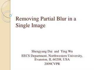 Removing Partial Blur in a Single Image