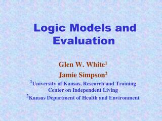 Logic Models and Evaluation
