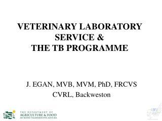 VETERINARY LABORATORY SERVICE &  THE TB PROGRAMME
