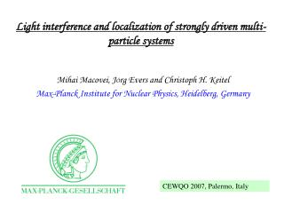 Light interference and localization of strongly driven multi-particle systems