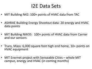 I2E Data Sets