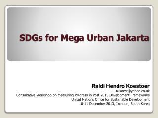 SDGs for Mega Urban Jakarta