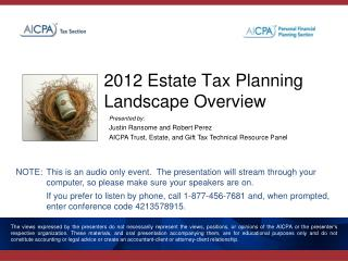 2012 Estate Tax Planning Landscape Overview