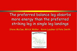 The preferred balance leg absorbs more energy than the preferred striking leg in single leg landings
