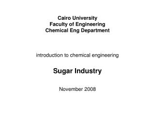 Cairo University Faculty of Engineering Chemical Eng Department introduction to chemical engineering