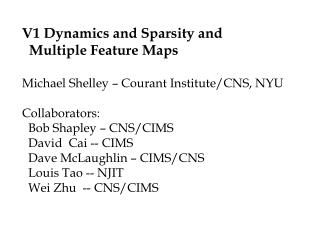 V1 Dynamics and Sparsity and    Multiple Feature Maps Michael Shelley – Courant Institute/CNS, NYU Collaborators:   Bob