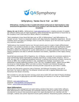 QASymphony Names David Keil as CEO