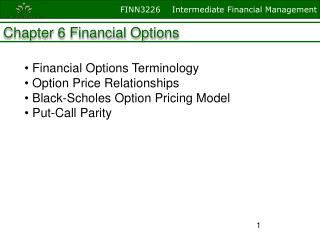 Chapter  6 Financial Options