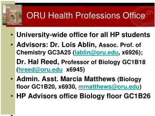 ORU Health Professions Office