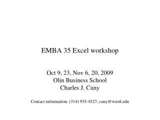 EMBA 35 Excel workshop