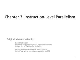 Chapter 3: Instruction-Level Parallelism